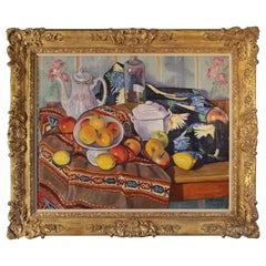 Still-Life with Apples, Lemons a Teapot and a Bottle