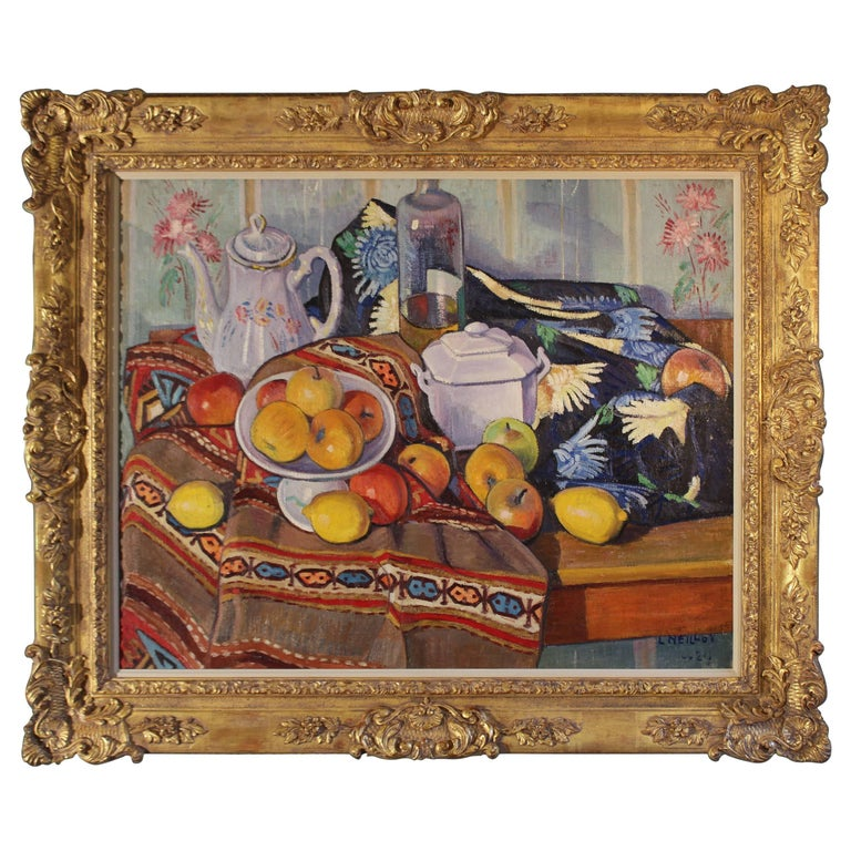Still-Life with Apples, Lemons a Teapot and a Bottle For Sale
