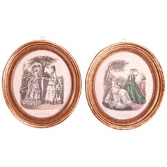Pair of Printed and Hand Colored French Fashion Plates with Oval Gilded Frames