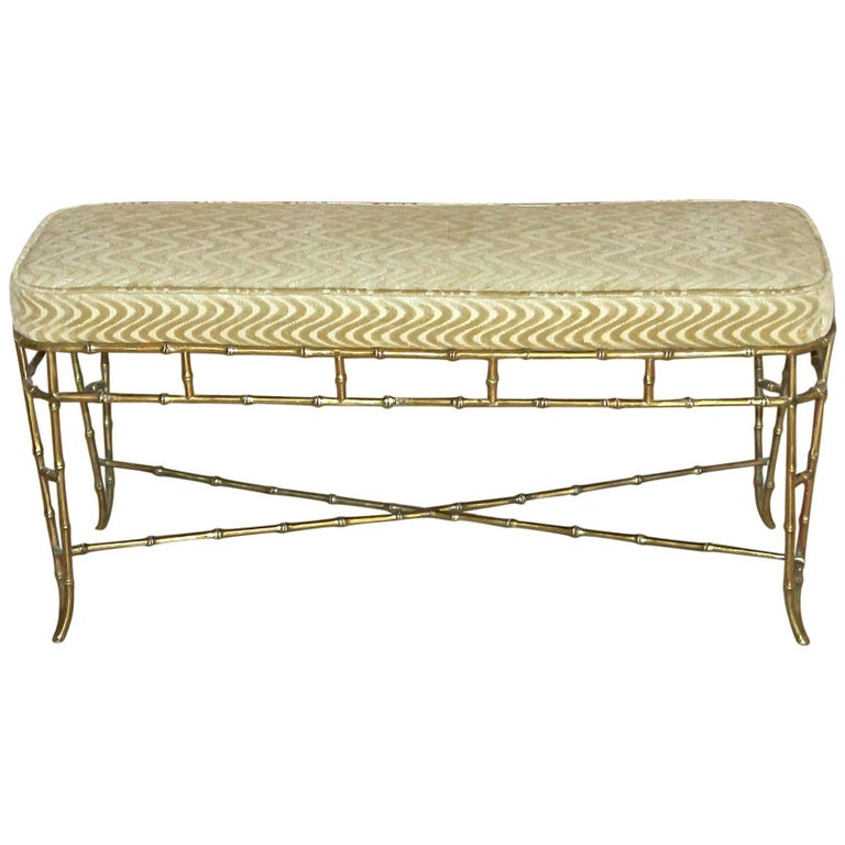 French Bagues Style Faux Brass Bamboo Bench