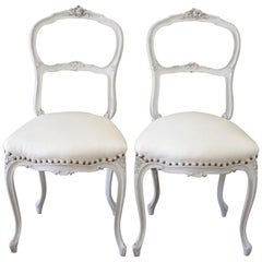 19th Century Painted and White Leather Upholstered Vanity Chairs
