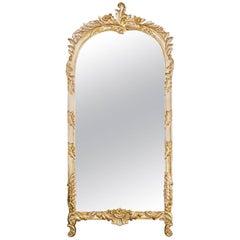 Venetian Rococo Style Silver & Gold Gilt Foliate Form Wall Pier Mirror