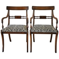 Pair of Mahogany Wood Open Armchairs
