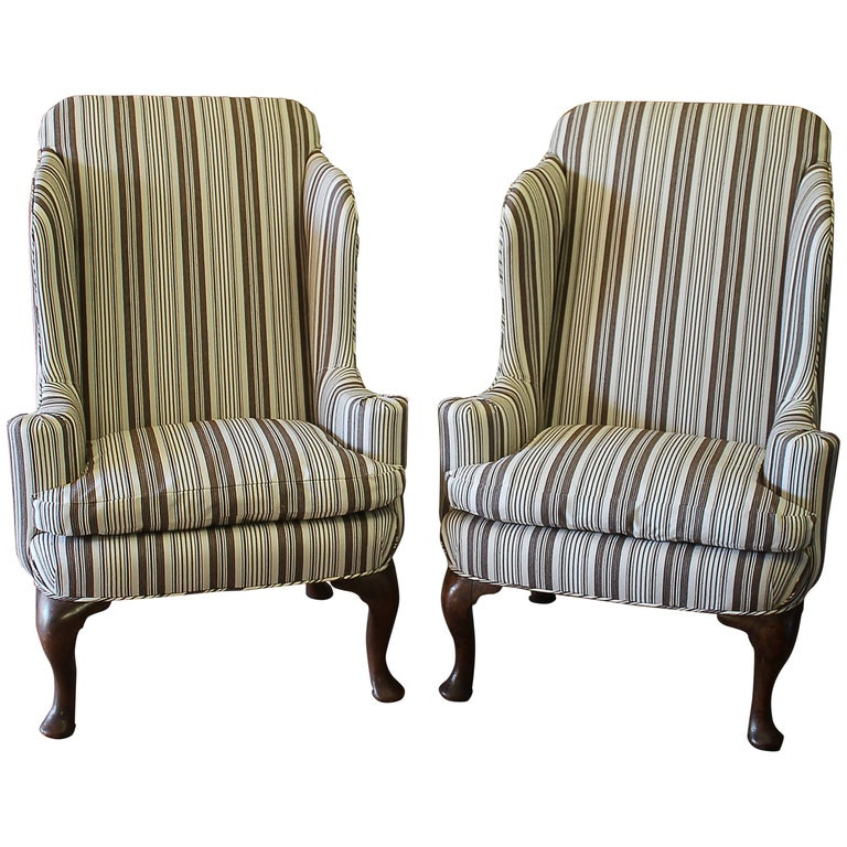 Midcentury Pair of Queen Anne Style Wing Chairs in Brown Ticking Stripe