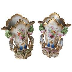 Pair of Antique Vieux Paris Hand-Painted & Gilt Porcelain Spill Vases