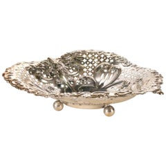 Antique Sterling Silver Gorham Heart Shaped Reticulated and Footed Dish