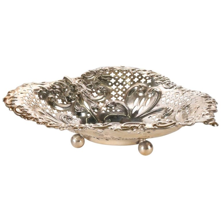 Antique Sterling Silver Gorham Heart Shaped Reticulated and Footed Dish For Sale