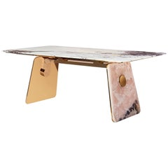 Natural Pink Jade and Burman Marble Table by Much Acclaimed Duo Studio MVW