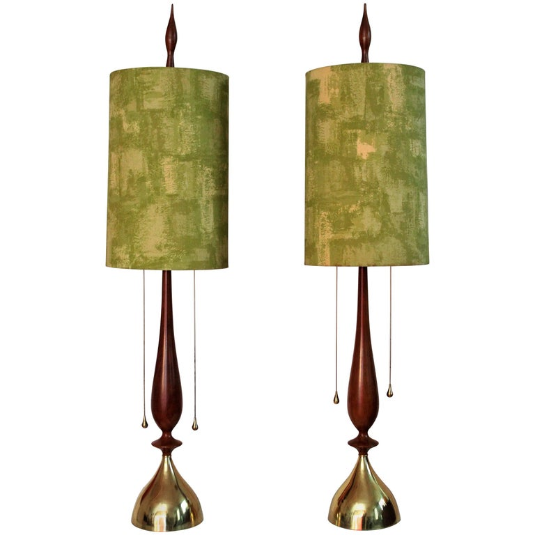 Frederick Cooper Walnut and Brass Table Lamps