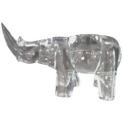 "Glass Sculpture ""Rhino"" Polished, Aqua Glass by Antonin Drobnik, Signed 1973"