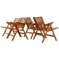 Beechwood Rex Folding Easy Chairs by Niko Kralj, Set of Four