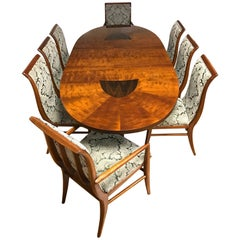 Henredon Art Deco Style Dining Room Set, Table, Eight Chairs
