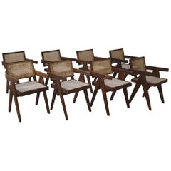 Pierre Jeanneret, Rare Set of Eight Office Chairs