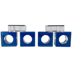 "Contemporary Square & Round Lucite Napkin Rings S/6 By, ""AFV"""