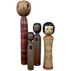 Japanese Vintage Hand-Painted Kokeshi Dolls