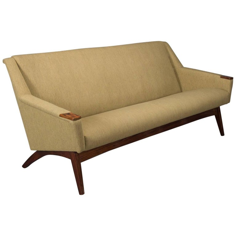 Danish Modern Sofa With Rosewood Paws And Angled Legs For