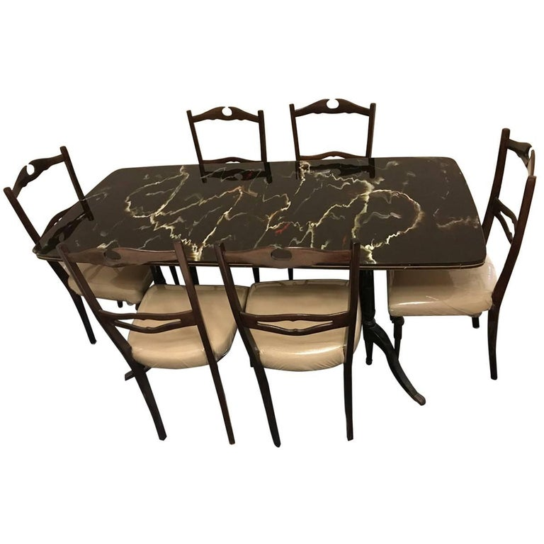 Midcentury Dining Room Set for Six, Attributed to Paolo Buffa For Sale