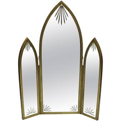 French Art Deco Triptych Mirror in Bronze