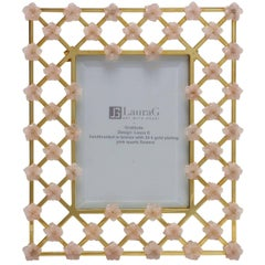 21st Century Glit Bronze Frame with Pink Quartz Flowers, Gratitude Pink