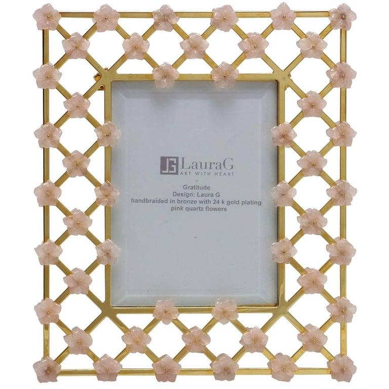 21st Century Glit Bronze Frame with Pink Quartz Flowers, Gratitude Pink For Sale