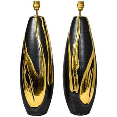 Big Pair of Ceramic Lamps by Jean Cacheleux with Gold Decoration