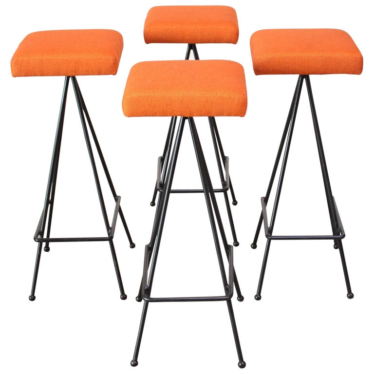 Set of Four Adrian Pearsall #11 Iron Barstools
