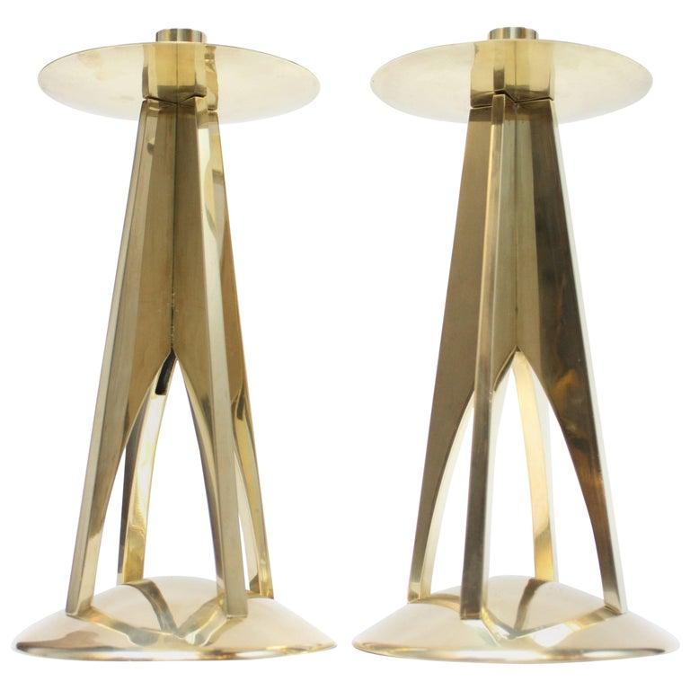 Pair of Large Mid-Century Modern Brass Candlesticks