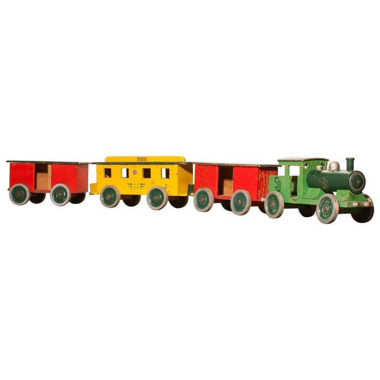 1930s Large Wooden Toy Train, Sweden For Sale
