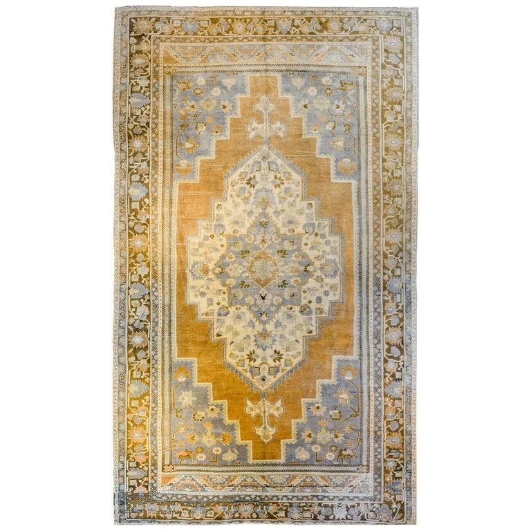 Wonderful Vintage Turkish Oushak Rug For Sale