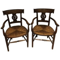 Pair of Oak Country Carver Chairs