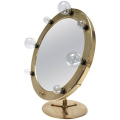 West German Lighted Tabletop Vanity Mirror in Brass