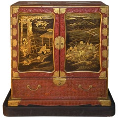 "Japanese Red Lacquer Edo Period ""Samurai"" Cabinet, Made for the Inaba Family"