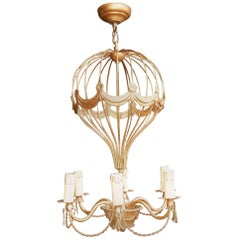 1970 Chandelier Airship Mongolfiére Gilded Metal