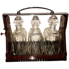 English Art Deco Modernist Macassar Three Bottle Tantalus, Betjemanns of London