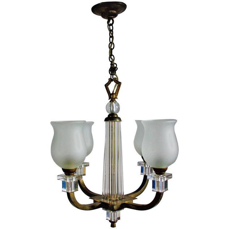 Bronze and Glass Chandelier, France, circa 1950s