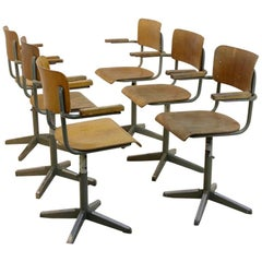 Industrial Tubax Plywood Desk Chairs, Belgium, 1970s