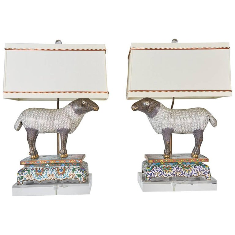 Pair of Antique Chinese Cloisonné Lambs Newly Mounted as Lamps