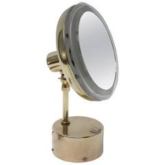 Midcentury Illuminated Vanity Mirror in Brass and Lucite