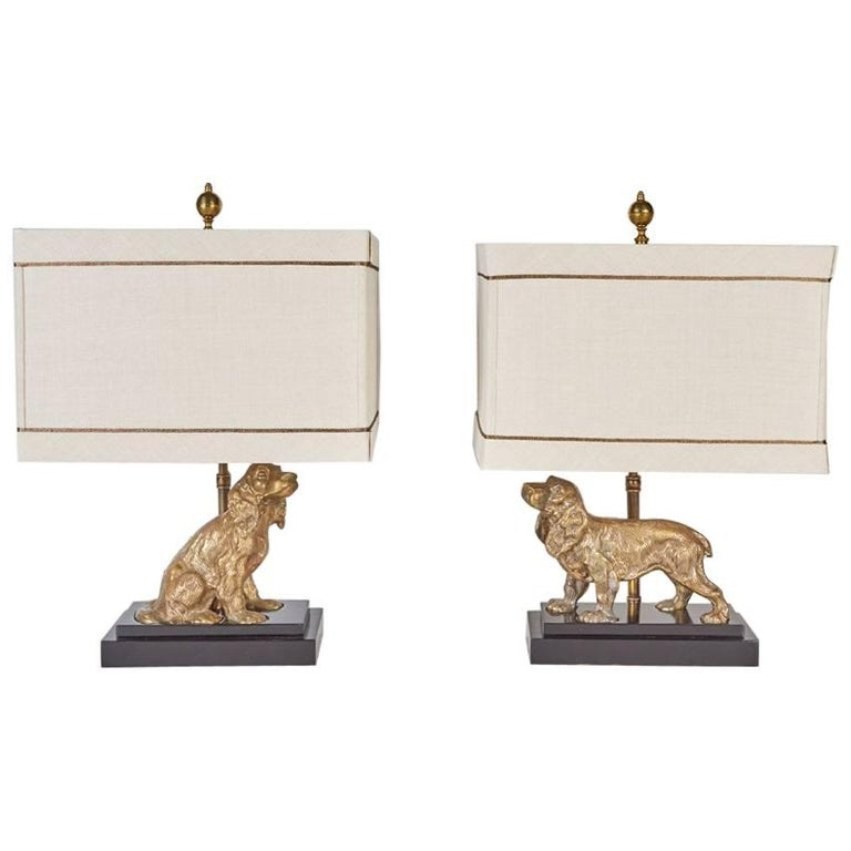 Complementary Pair of Brass Dogs Mounted as Lamps