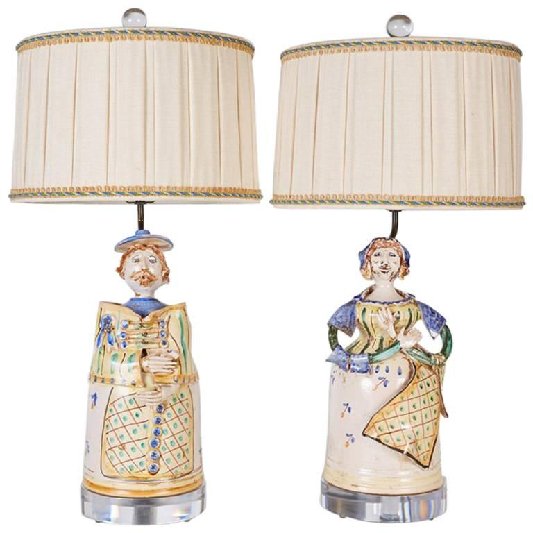 Pair of Midcentury Italian Faience Figures Custom Mounted as Lamps