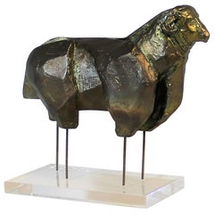 Brutalist Bronze Ram Sculpture on Lucite Plinth Signed M. Katz