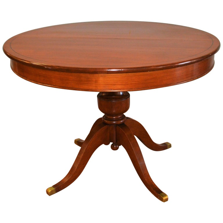 Dining Table With Three Extension Leaves And Six Matching: Louis Philippe Style Round Walnut Pedestal Table With