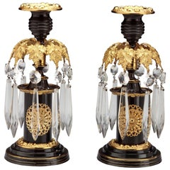 Pair of Regency Lacquered Brass Candlesticks