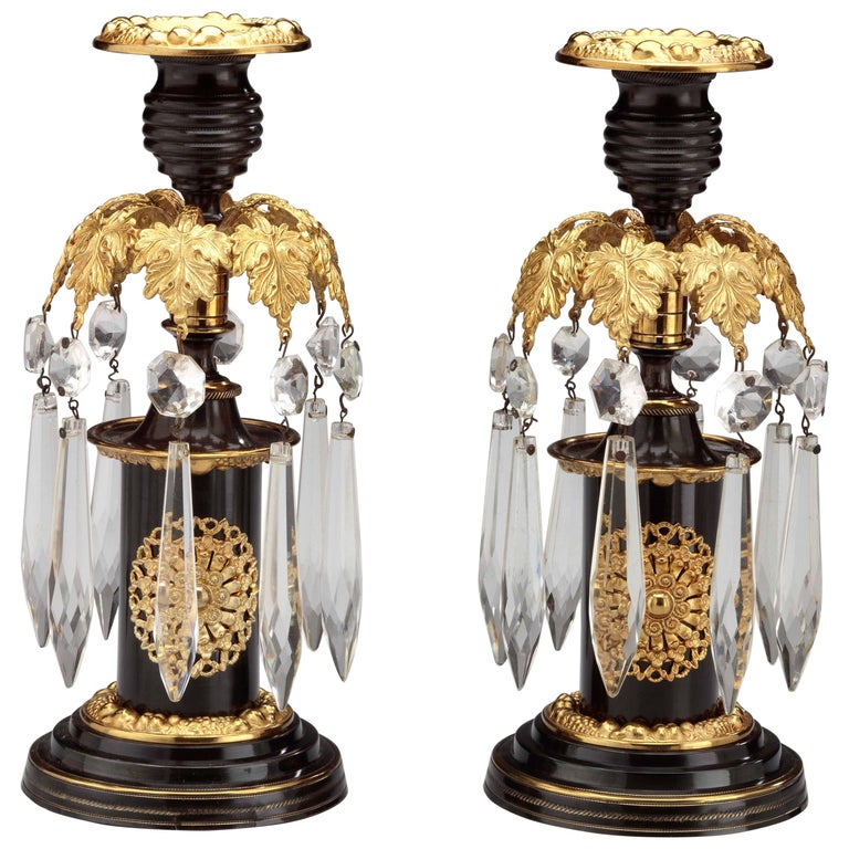Pair of Regency Lacquered Brass Candlesticks For Sale