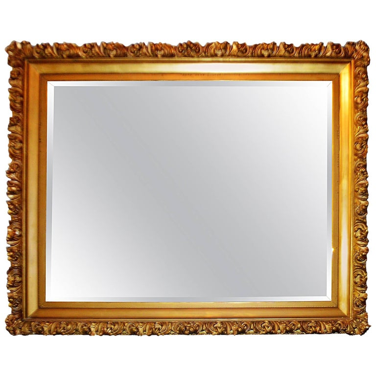 19th Century Italian, Gilded Large Mirror Hand Carved on Wood and Plaster