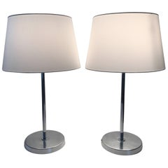 Pair of Swedish Bergboms Steel Table Lamps, 1955