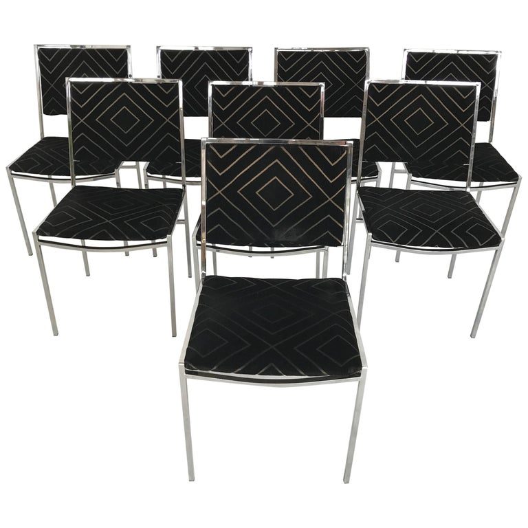 Large Set of Willy Rizzo Dining Chairs, 1970s