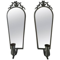 Pair of Swedish Grace Pewter Mirror Candle Sconces by Nils Fougsted Svenskt Tenn