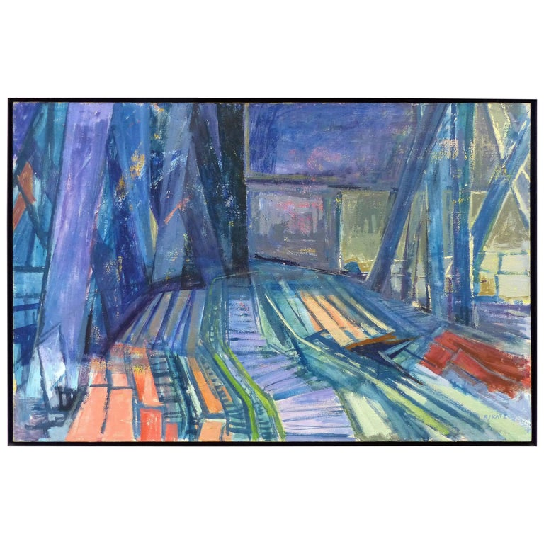 Mid-Century Modern Abstract Oil Painting by Betty J. Katz