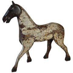 19th Century French Painted Toy Wooden Horse with an Iron Head